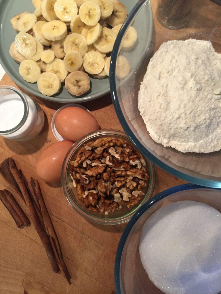 ingrédients pour le Banana bread