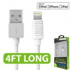 Picture of Cellet 4 Ft Lightning USB Charging + Data Cable (White)