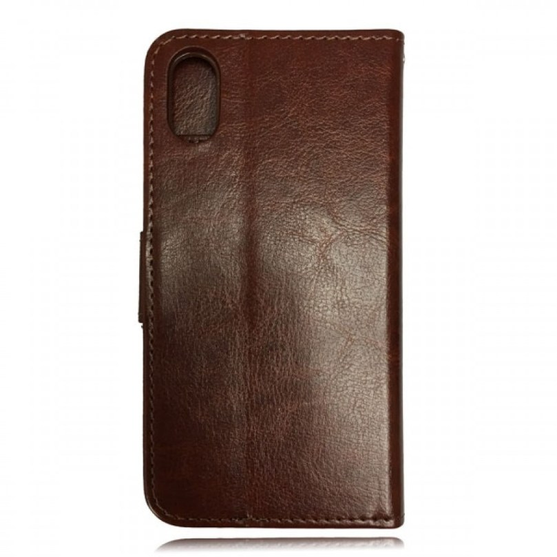 iPhone X/XS Leather Wallet Flip Case Brown 2