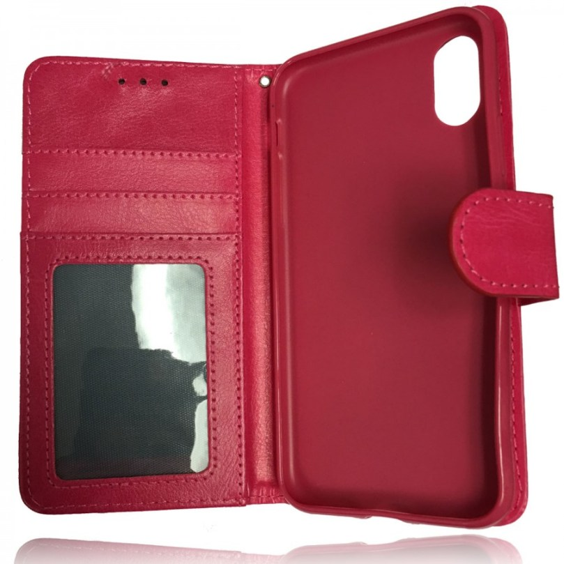 iPhone X/XS Leather Wallet Flip Case Pink 2