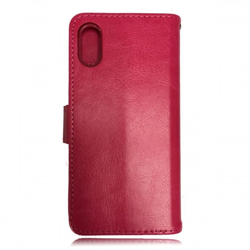 iPhone X/XS Leather Wallet Flip Case Red 2
