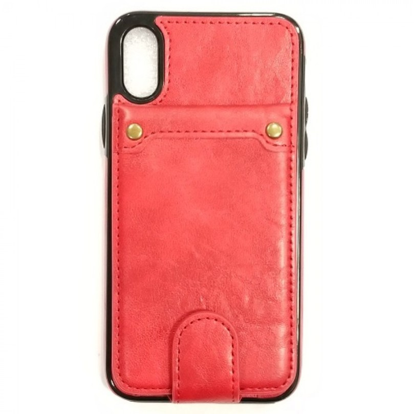 iPhone X/Xs PU Leather Wallet Multi Card Holding Case RED 1