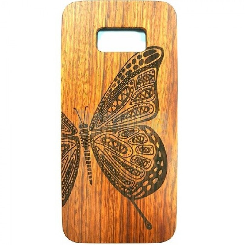 Butterfly Design Wood Case For Samsung S9 1