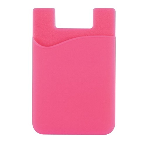 Stick-On Adhesive Silicone Cell Phone Card Holder Hot Pink 1