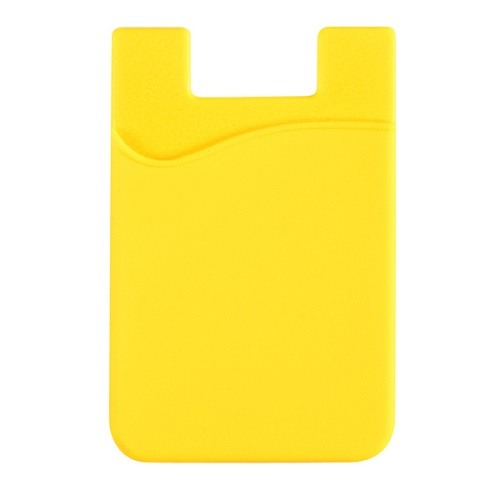 Stick-On Adhesive Silicone Cell Phone Card Holder Yellow 1