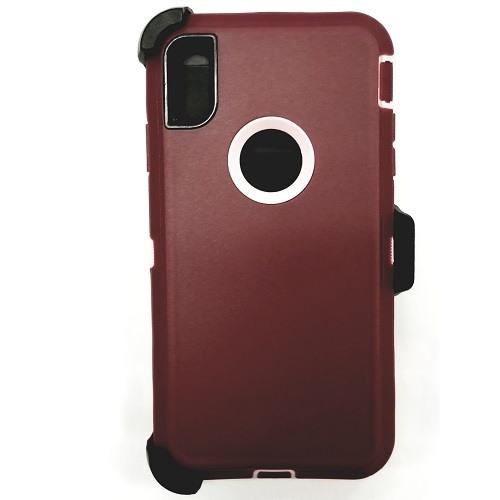 iPhone X/Xs Heavy Duty Case w/ Clip OLD PURPLE/PINK 1