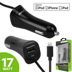 Cellet 3.4Amp 17W 2.4A 1A Apple MFI Certified Lightning 8 Pin Cable with USB Port Car Charger Black 1
