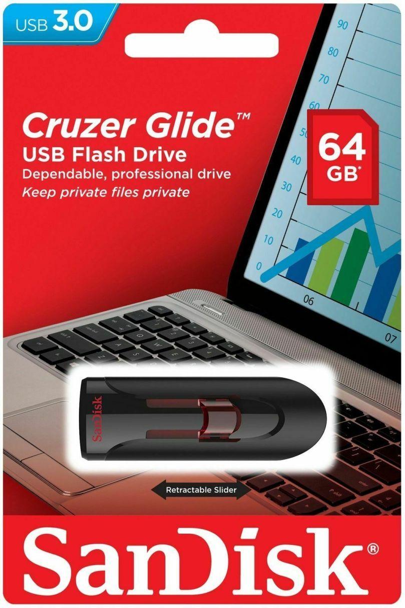 SanDisk 64GB Cruzer GLIDE USB 3.0 Flash Drive 1