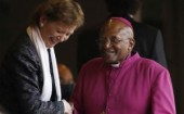 mandela's memorial Former Bishop Desmond Tutu (right) and former Irish President Mary Robinson