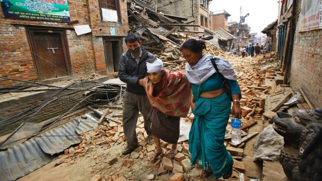 Victims of the earthquake in Nepal