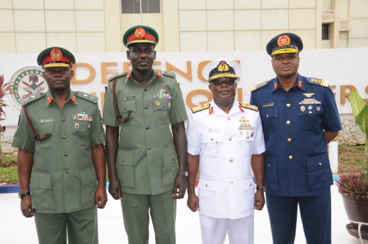 Meet the Service Chiefs-  The CDS, Maj Gen AG Olonisakin,    COAS, Maj Gen Gen TY Buratai, CNS, R Adm  IE Ibas and CAS, AVM SB  Abubakar   shortly after taking over command at the Defence and Services    Headquarters