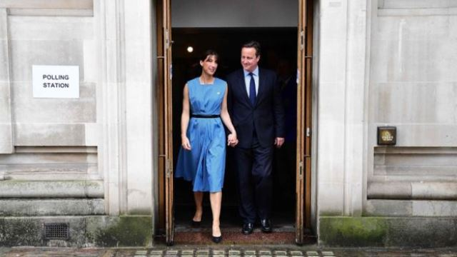 UK Prime Minister, David Cameron After voting with his wife in London