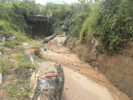 Improperly terminated drainage close to Ma Ibom's house