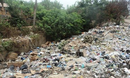 Waterways blocked by refuse at moshood junction, Ikere Ekiti