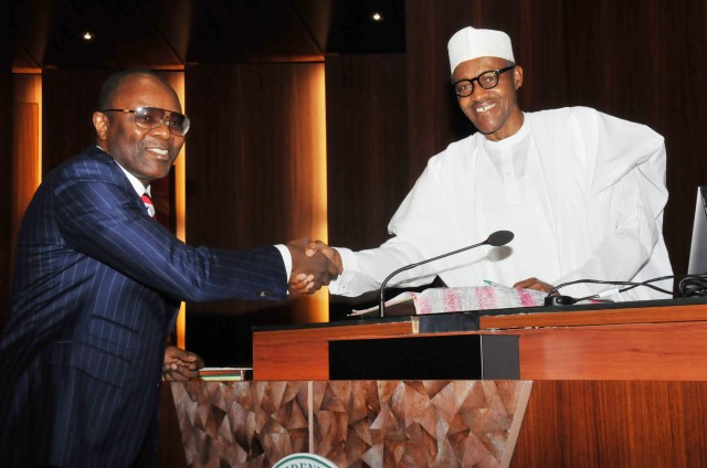 File: President Buhari congratulating Kachikwu on his appointment as Minister of State, Petroleum Resources