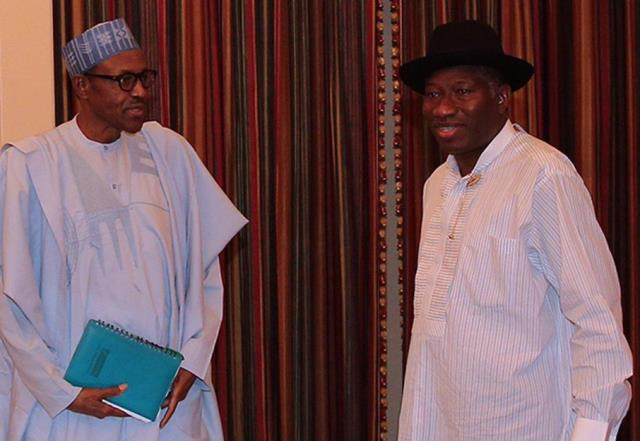 President Buhari with former President Jonathan at the State House today