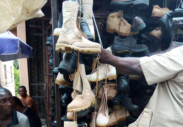 Army boots for sale at the Central Market, Kaduna