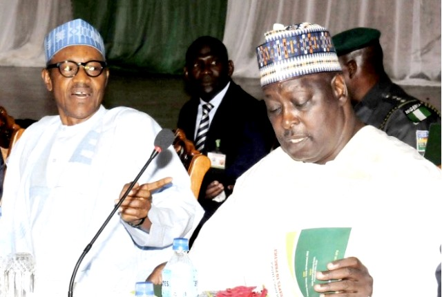 President Muhammadu Buhari and the Secretary to the Government of the Federation, Babachir Lawal