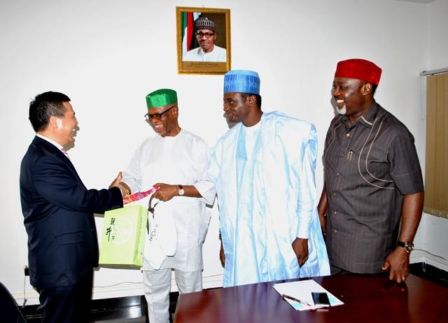Chinese Ambassador to Nigeria, Zhou Pingjian; Nat'l Chairman of the APC, John Odigie-Oyegun; Nat'l Secretary, Mai Mala Buni and Nat'l Auditor, George Moghalu during the courtesy visit of the Chinese Ambassador