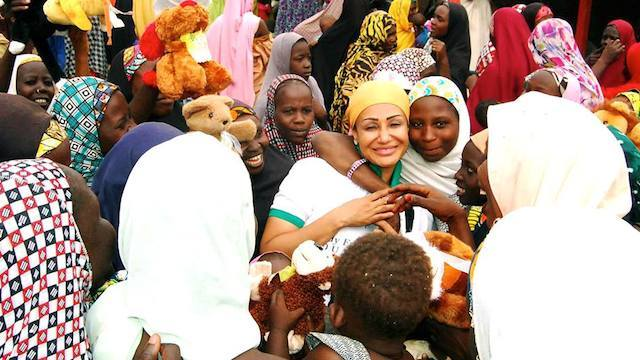 Modupe Ozolua in an IDP camp in Borno State