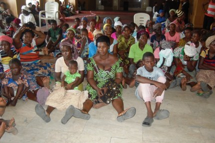 Some women and children from Otodo Gbame community at the court room of the