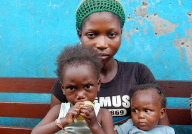 Jesuyah, whose husband was killed during the demolition, and her two children