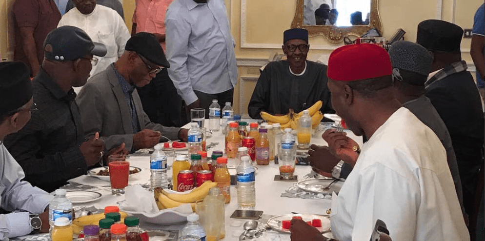 Oyegun, Amaechi, APC governors dine with Buhari in London