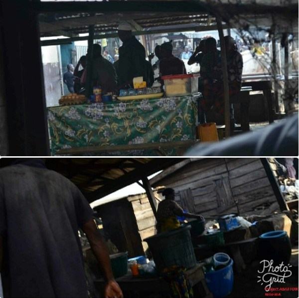 Food sellers and hawkers located right in the filthy abattoir environment with flies buzzing around, and waste and worms on the abattoir floor. Abattoir workers eat the food right there without paying attention to handwashing and general hygiene