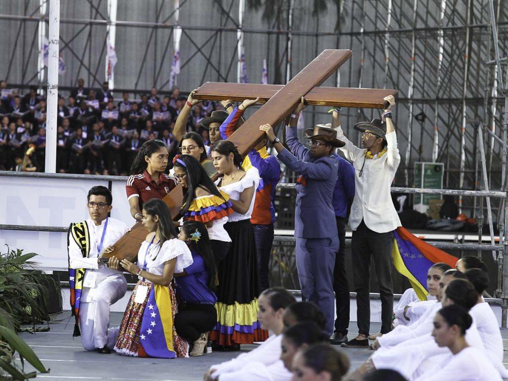 Los venezolanos estuvieron a cargo de una estación durante el Via Crucis en la pasada Jornada Mundial de la Juventud /Lazaro Gutierrez, Panamá 2019