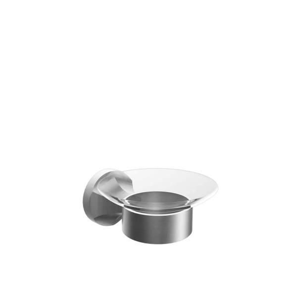 V2514 - Volkano Glass Soap Dish - Brushed Nickel