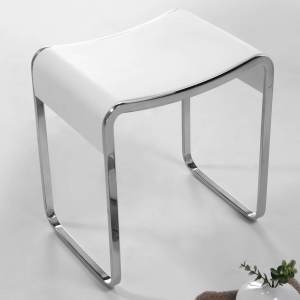 V9613 Volkano Shower Stool White with Chrome Legs