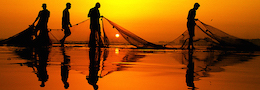 fishermen nets sunrise
