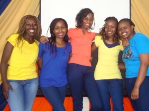 The dancers: L to R,ShikoMunyao, Neema Mukuccia, Tabitha Muia,  Phina and Christine Munene