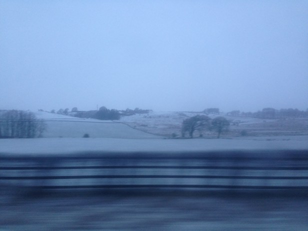 On my way to Edinburgh Airport from Glasgow. Perfect timing for snow.