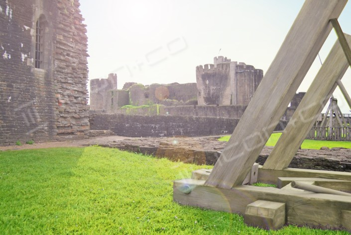 Giant props, scenic artwork, faux military re-enactment props, life-size models, trebuchet, castle, fake timber