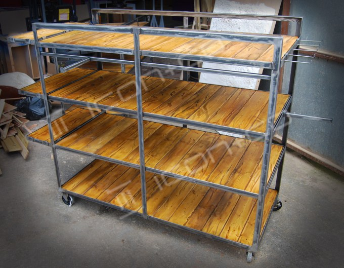 industrial vintage shop display shelving, retail display, urban retro reclaimed timber rustic shelving wheeled trolley shop store furniture