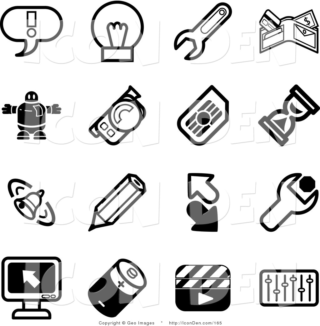 Clip Art Of A Collection Of Black And White Random Icons