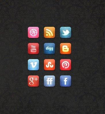 Icônes sociales cuir
