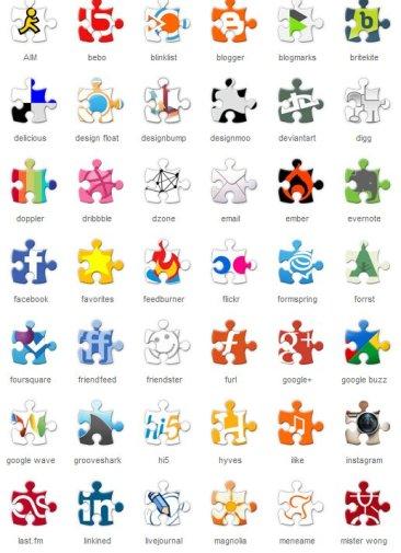 Social Puzzle Icones