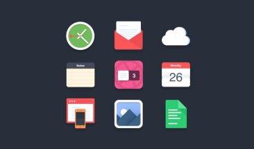 9 flat icones