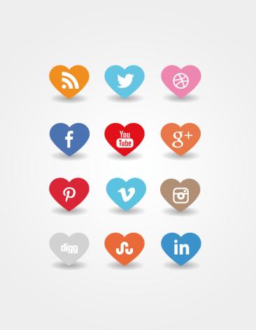 Icônes sociales coeur