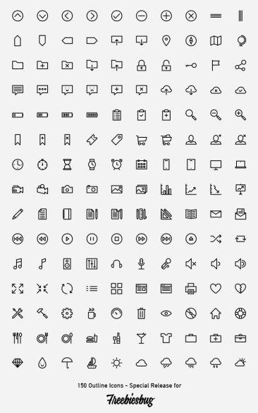 150 icônes contour