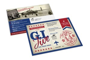 """Retro patriotic imagery with """"GI Jive"""" displayed prominently on the front"""