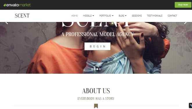 Scent Model talent Agency WordPress Theme