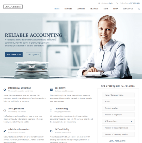 Accounting and tax preparer website template