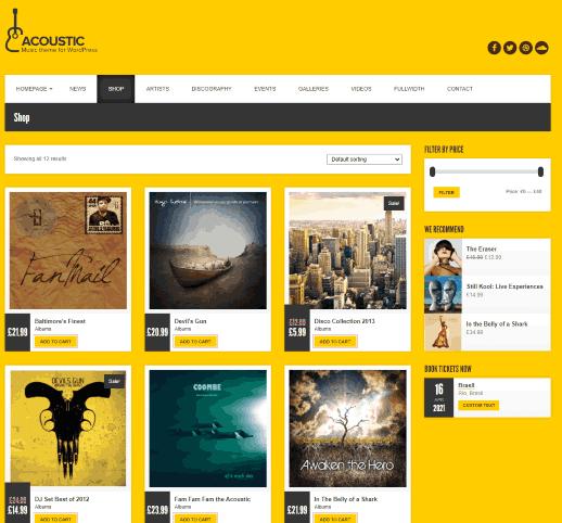 Acoustic a Premium Music selling online shop WP theme