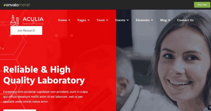 Aculia a Research Lab Website WordPress Theme