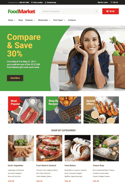 Food Market a Grocery Store and Shop WordPress Theme
