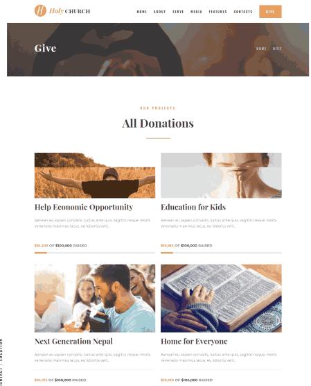 Holy Church a NGO & fundraising theme