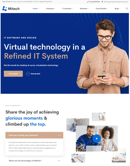 Mitech a network solutions & services WordPress theme